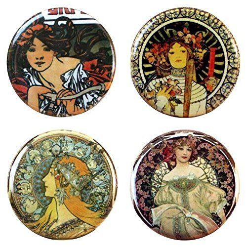 "Buttonsmith® 1.25"" Mucha Perfecta Refrigerator Magnets - Set of 4"