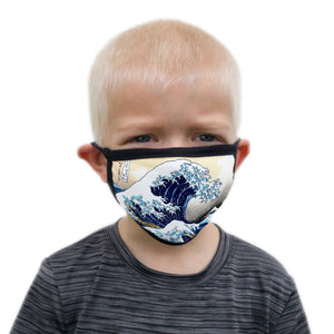 Buttonsmith Hokusai Great Wave Child Face Mask with Filter Pocket - Made in the USA