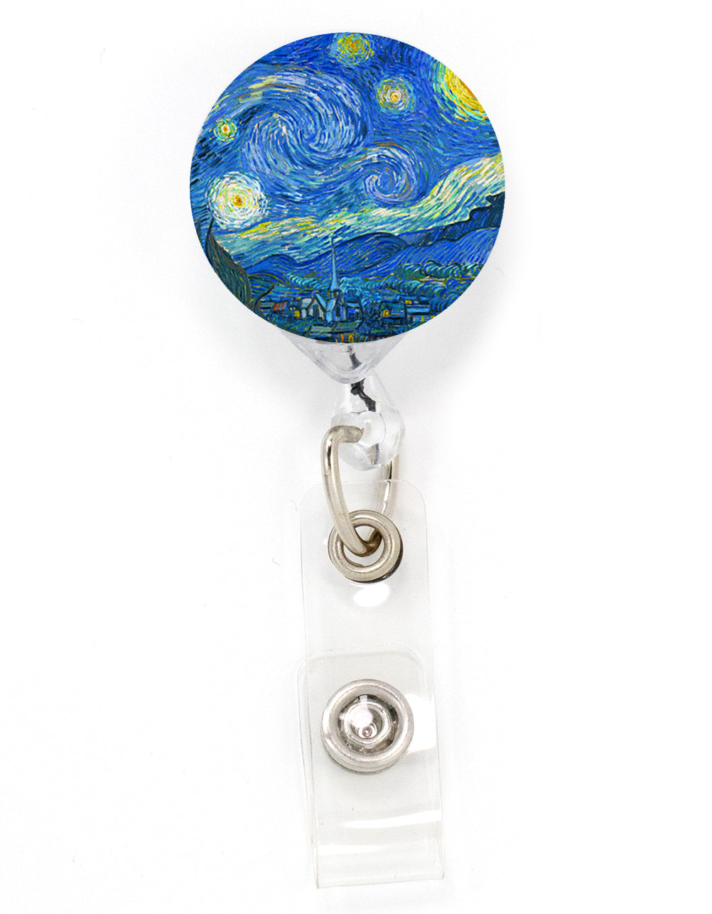 Buttonsmith VanGogh Starry Night Tinker Reel Retractable Badge Reel - Made in the USA