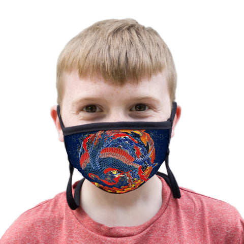 Buttonsmith Hokusai Phoenix Youth Adjustable Face Mask with Filter Pocket - Made in the USA