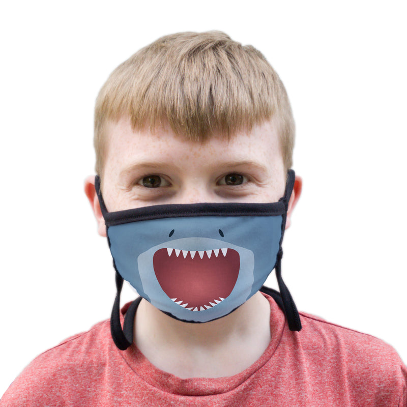 Buttonsmith Cartoon Shark Face Youth Adjustable Face Mask with Filter Pocket - Made in the USA - Buttonsmith Inc.