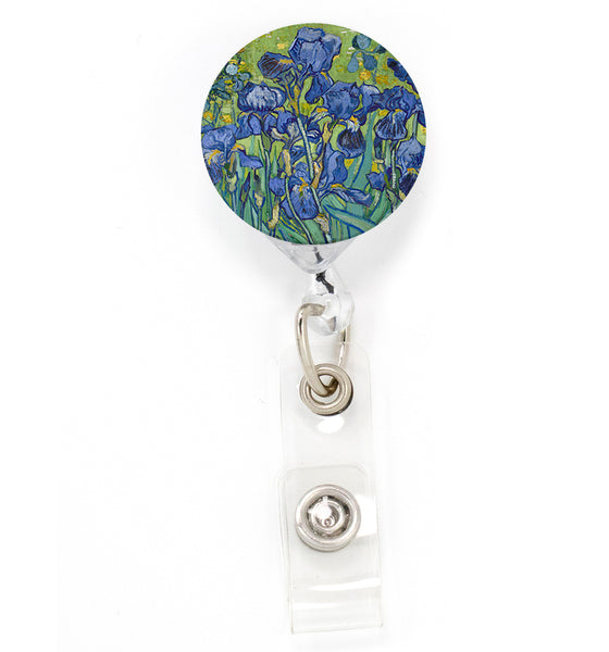 Buttonsmith VanGogh Iris Tinker Reel Retractable Badge Reel - Made in the USA