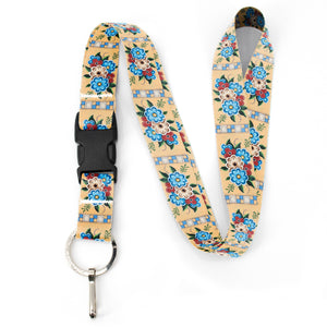 Buttonsmith Quilted Flowers Premium Lanyard - with Buckle and Flat Ring - Based on Rebecca McGovern Art - Officially Licensed - Made in the USA