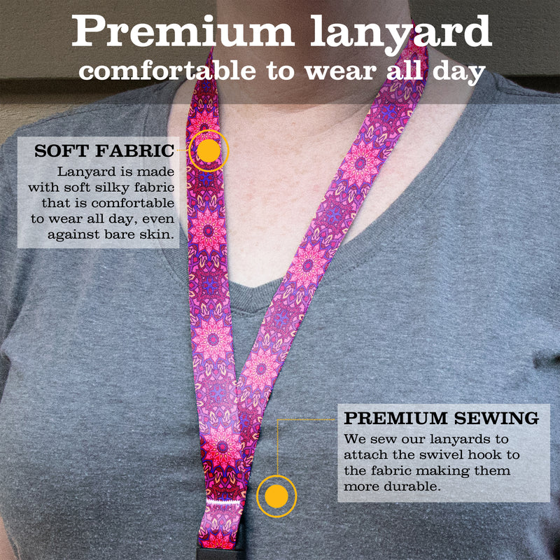 Buttonsmith Pink Moroccan Tiles Premium Lanyard - with Buckle and Flat Ring - Made in the USA - Buttonsmith Inc.