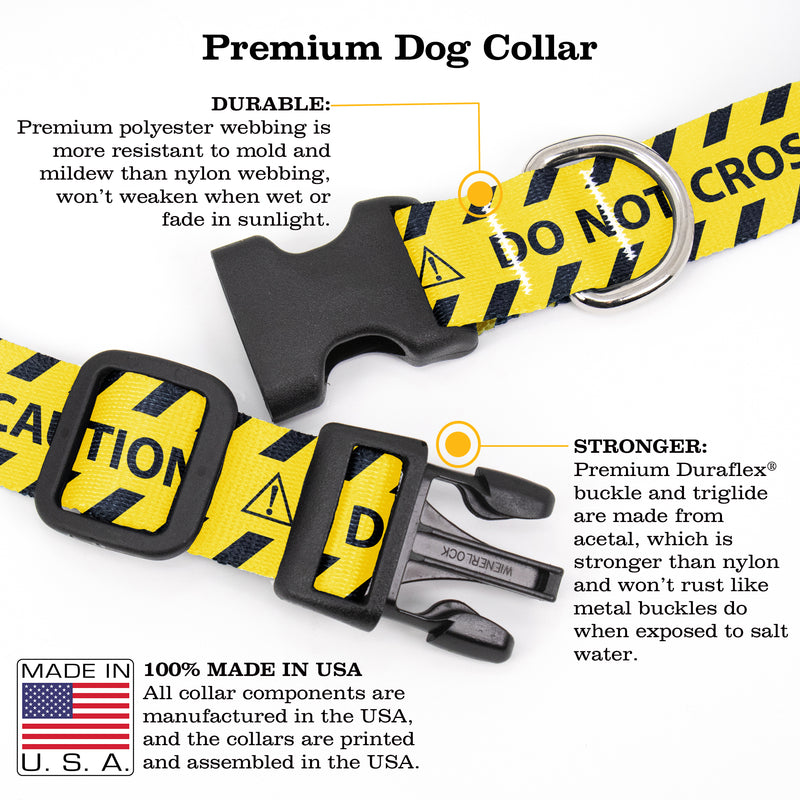 Buttonsmith Caution Dog Collar - Made in the USA - Buttonsmith Inc.