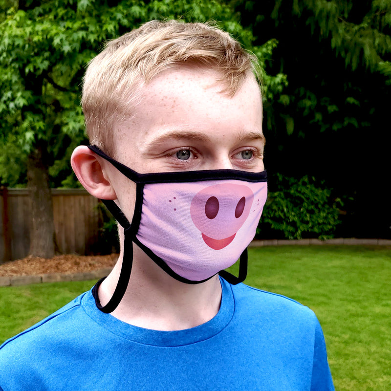 Buttonsmith Cartoon Piglet Face Youth Adjustable Face Mask with Filter Pocket - Made in the USA - Buttonsmith Inc.
