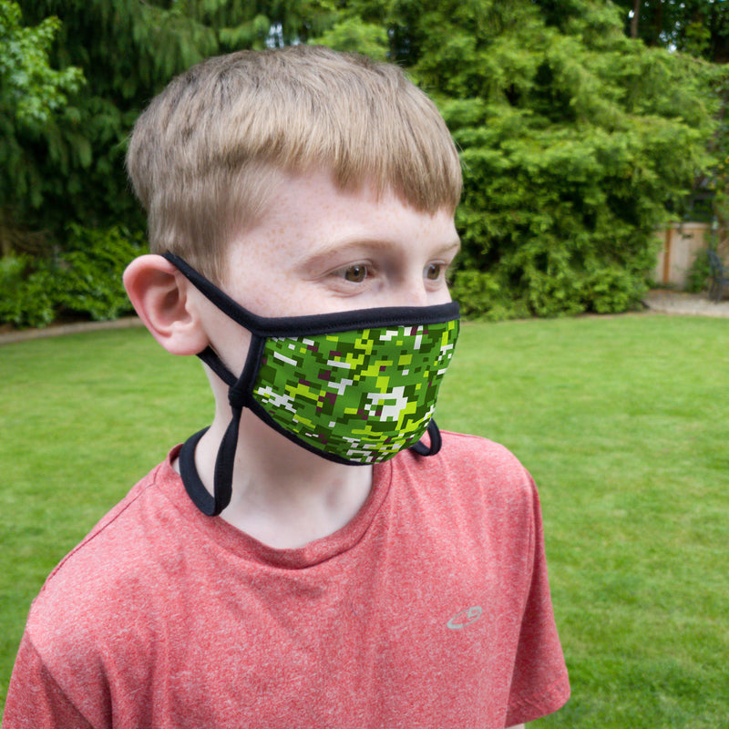 Buttonsmith PixelLand Camo Youth Adjustable Face Mask with Filter Pocket - Made in the USA - Buttonsmith Inc.