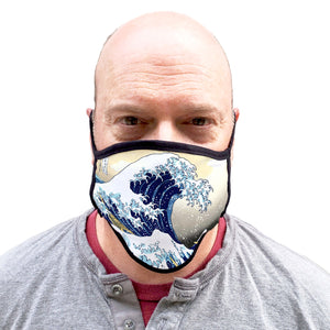 Buttonsmith Hokusai Great Wave Adult XL Adjustable Face Mask with Filter Pocket - Made in the USA