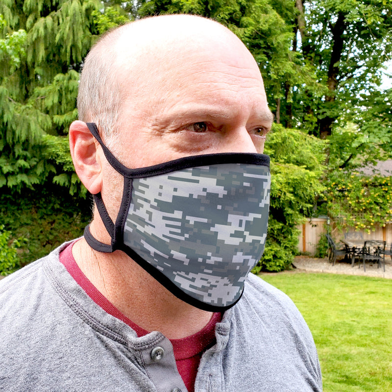 Buttonsmith Urban Camo Adult Adjustable Face Mask with Filter Pocket - Made in the USA - Buttonsmith Inc.