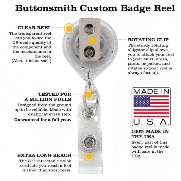 Buttonsmith Rosie Tinker Reel Retractable Badge Reel - Made in the USA