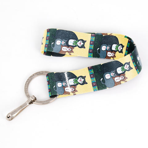 Buttonsmith Cat Wristlet Key Chain Lanyard - Short Length with Flat Key Ring and Clip - Based on Rebecca McGovern Art - Officially Licensed - Made in the USA