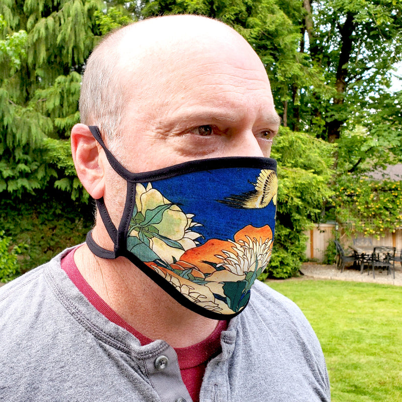 Buttonsmith Hokusai Canary & Peony Adult Adjustable Face Mask with Filter Pocket - Made in the USA - Buttonsmith Inc.