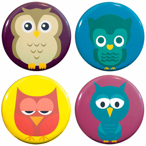 "Buttonsmith® 1.25"" Owls Refrigerator Magnets - Set of 4"