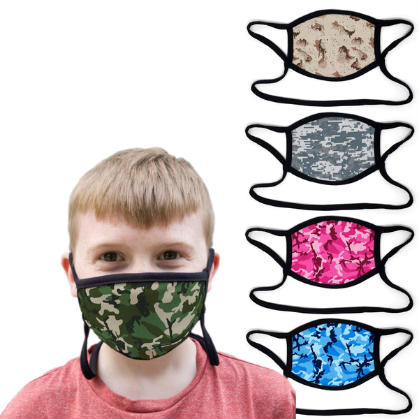 Buttonsmith Camo - Set of 5 Youth Adjustable Face Mask with Filter Pocket - Made in the USA