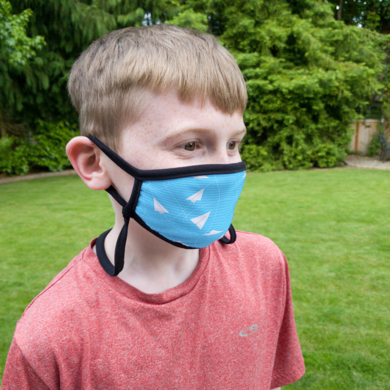 Buttonsmith Paper Airplanes Child Face Mask with Filter Pocket - Made in the USA - Buttonsmith Inc.