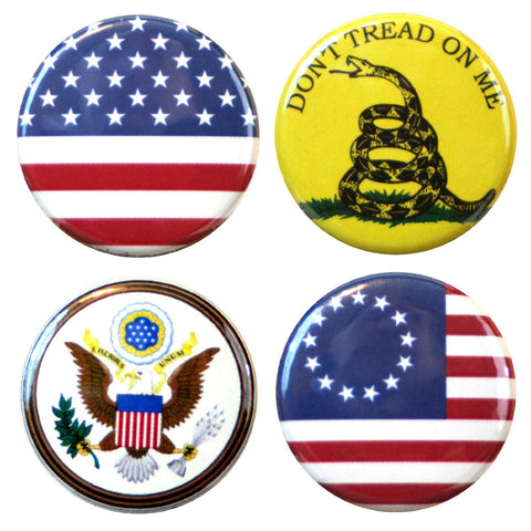 "Buttonsmith® 1.25"" Patriot Refrigerator Magnets - Set of 4"