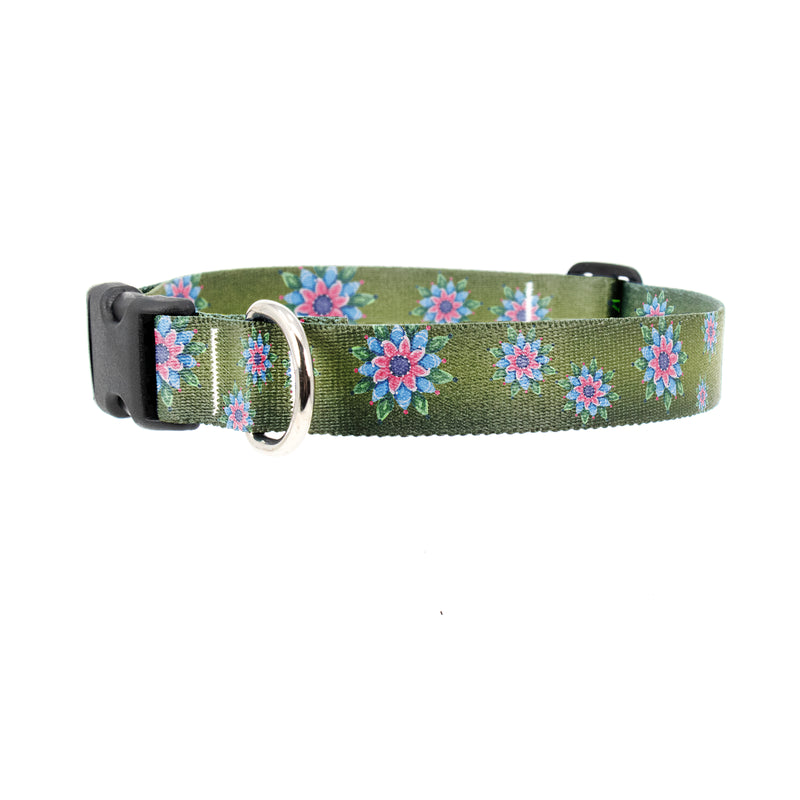 Buttonsmith McGovern Pink Rosemaling Dog Collar - Made in the USA - Buttonsmith Inc.