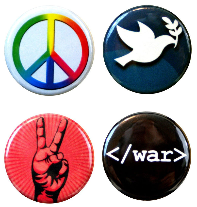 "Buttonsmith® 1.25"" Peace Refrigerator Magnets - Set of 4 - Buttonsmith Inc."