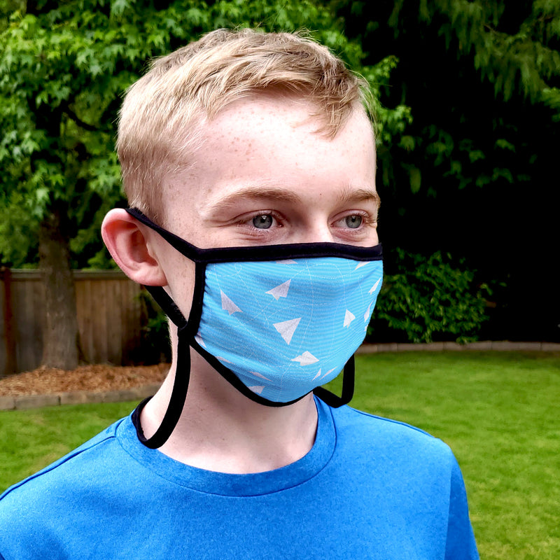 Buttonsmith Paper Airplanes Youth Adjustable Face Mask with Filter Pocket - Made in the USA - Buttonsmith Inc.