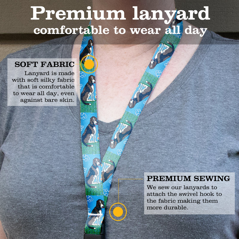 Buttonsmith Dog Premium Lanyard - with Buckle and Flat Ring - Based on Rebecca McGovern Art - Officially Licensed - Made in the USA - Buttonsmith Inc.