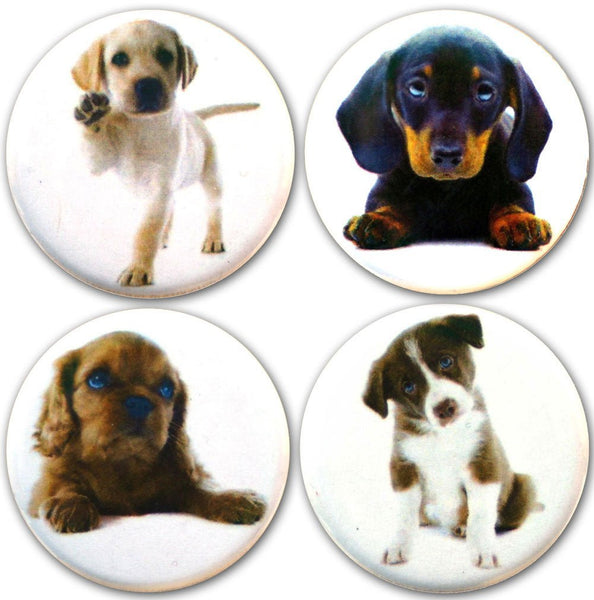 "Buttonsmith® 1.25"" Puppies Refrigerator Magnets - Set of 4"