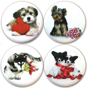 "Buttonsmith® 1.25"" Puppy Love Refrigerator Magnets - Set of 4"