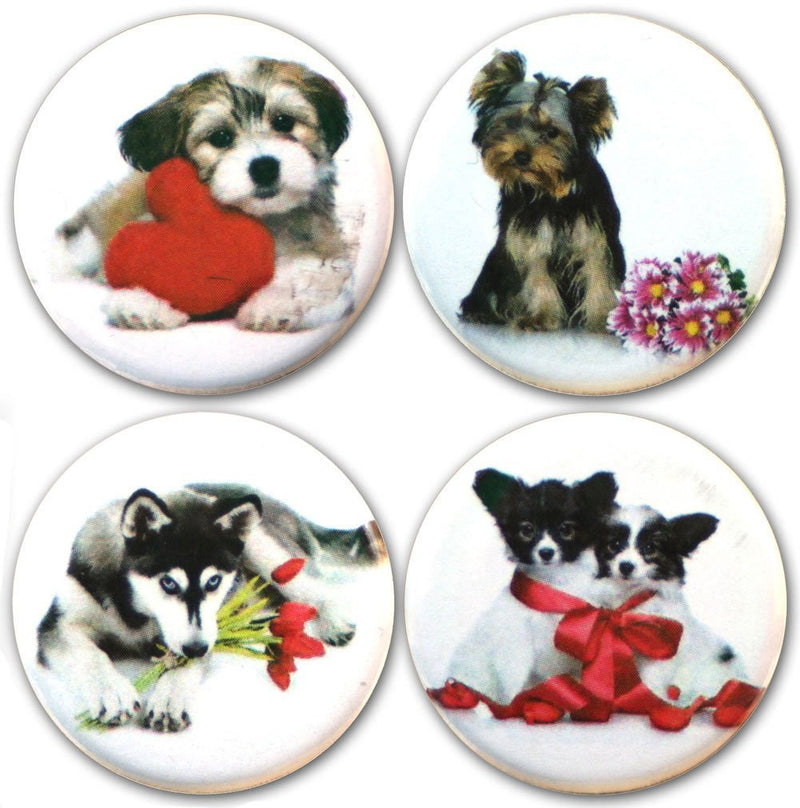 "Buttonsmith® 1.25"" Puppy Love Refrigerator Magnets - Set of 4 - Buttonsmith Inc."