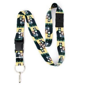 Buttonsmith Cat Breakaway Lanyard - with Buckle and Flat Ring - Based on Rebecca McGovern Art - Officially Licensed - Made in the USA