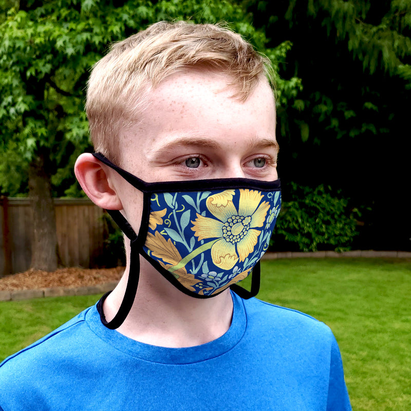 Buttonsmith William Morris Compton Blue Child Face Mask with Filter Pocket - Made in the USA - Buttonsmith Inc.
