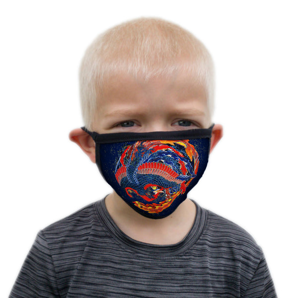 Buttonsmith Hokusai Phoenix Child Face Mask with Filter Pocket - Made in the USA