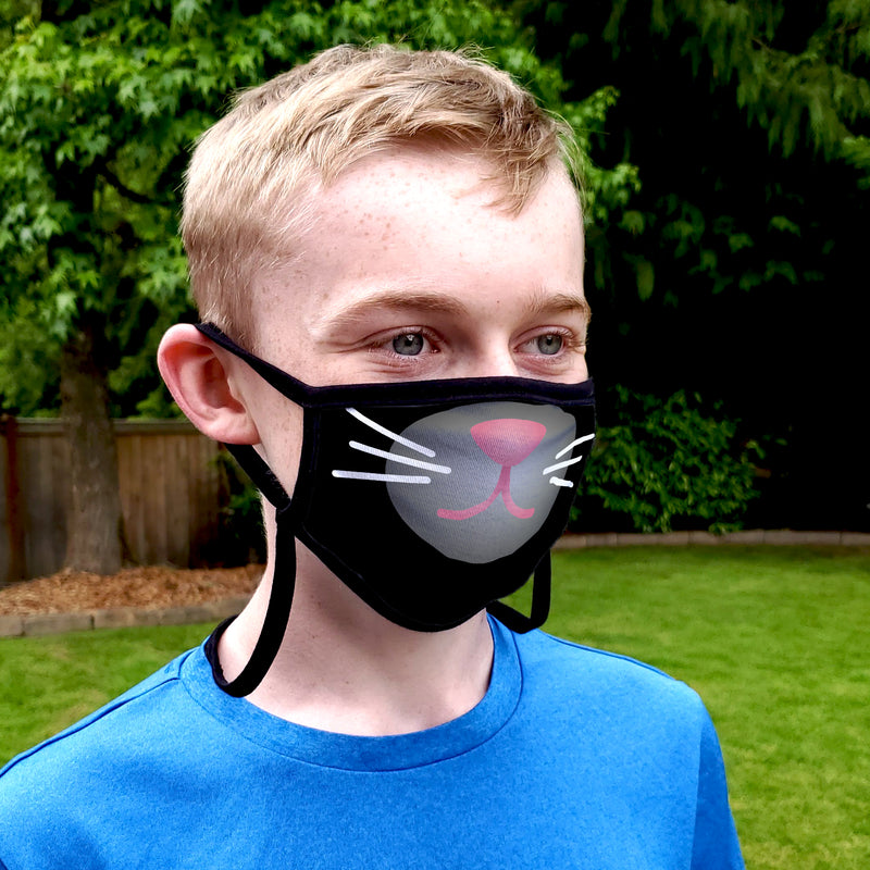 Buttonsmith Cartoon Kitty Face Child Face Mask with Filter Pocket - Made in the USA - Buttonsmith Inc.