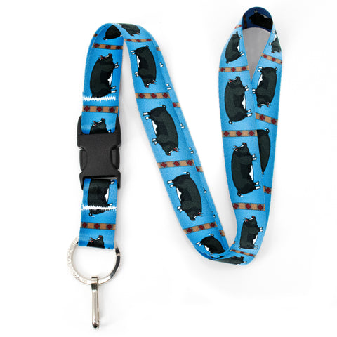 Buttonsmith Pig Premium Lanyard - with Buckle and Flat Ring - Based on Rebecca McGovern Art - Officially Licensed - Made in the USA