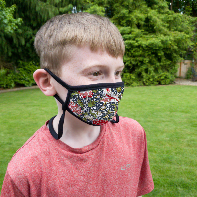 Buttonsmith William Morris Cray Child Face Mask with Filter Pocket - Made in the USA - Buttonsmith Inc.