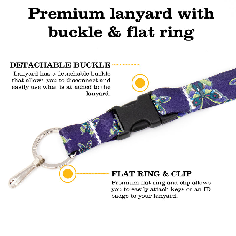 Buttonsmith Butterflies Breakaway Lanyard - with Buckle and Flat Ring - Based on Rebecca McGovern Art - Officially Licensed - Made in the USA - Buttonsmith Inc.