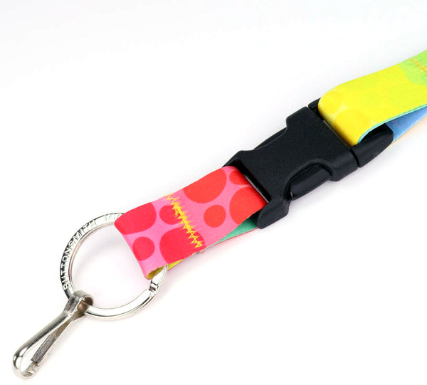 Buttonsmith Rainbow Dots Breakaway Lanyard - Made in USA