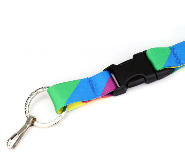 Buttonsmith Rainbow Flag Custom Lanyard - Made in USA