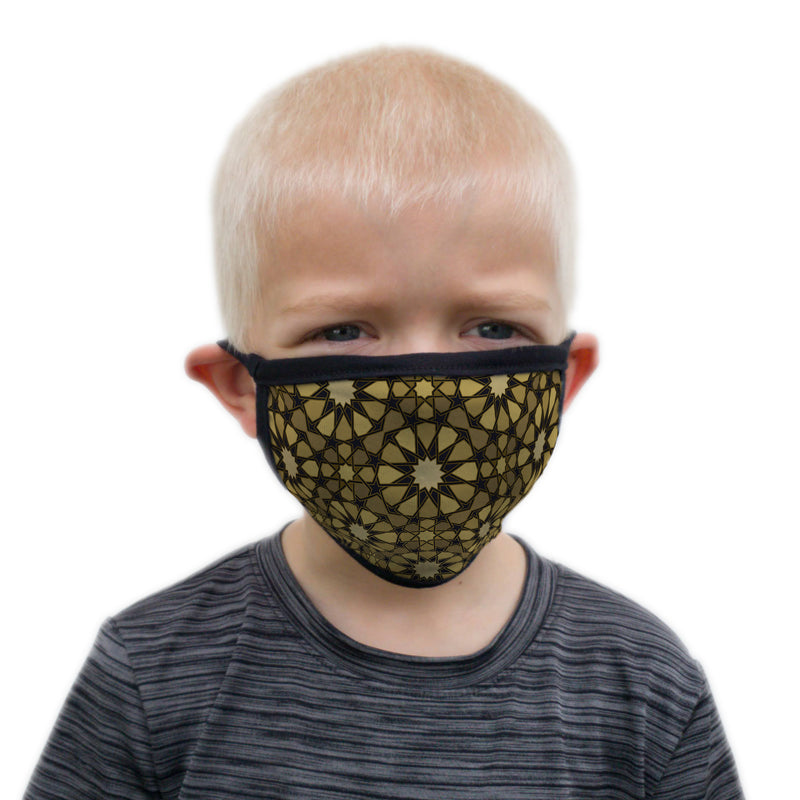 Buttonsmith Old Gold Stars Youth Adjustable Face Mask with Filter Pocket - Made in the USA - Buttonsmith Inc.