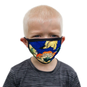 Buttonsmith Hokusai Canary & Peony Child Face Mask with Filter Pocket - Made in the USA