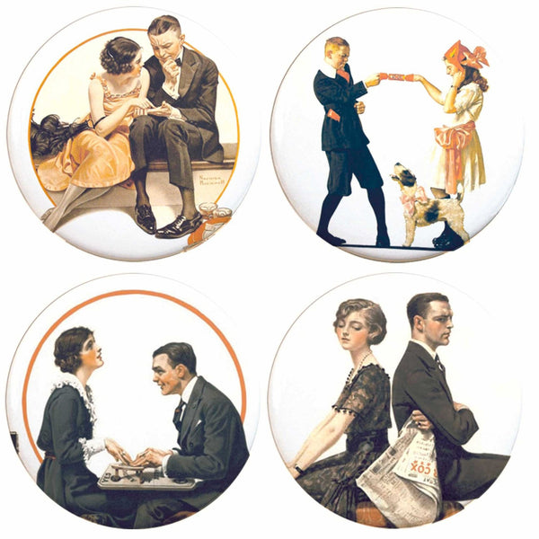 "Buttonsmith® 1.25"" Norman Rockwell Love Refrigerator Magnets - Set of 4"