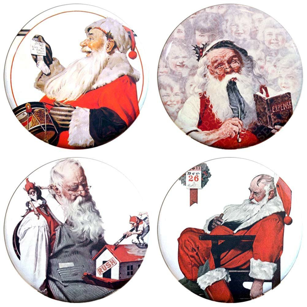 "Buttonsmith® 1.25"" Norman Rockwell Santas Refrigerator Magnets - Set of 4"