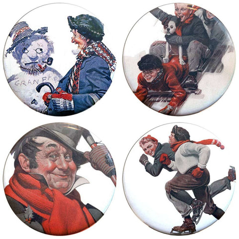 "Buttonsmith® 1.25"" Norman Rockwell Winter Refrigerator Magnets - Set of 4"