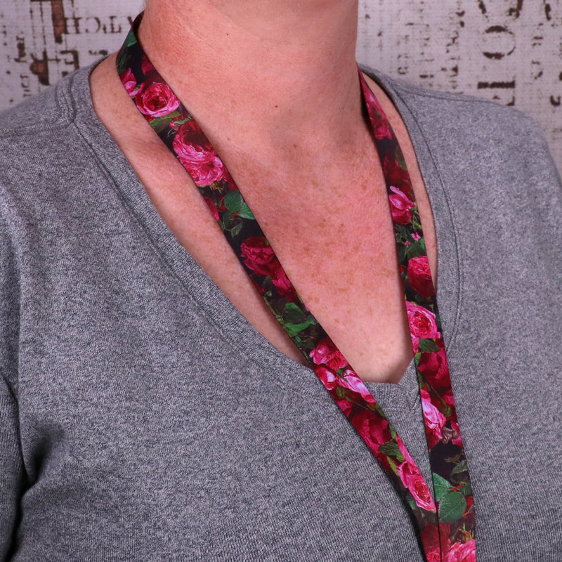 Buttonsmith Waldmueller Roses Breakaway Lanyard - Made in USA - Buttonsmith Inc.