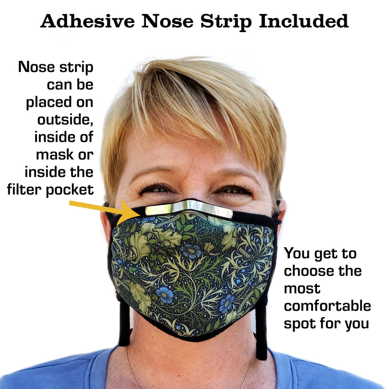 Buttonsmith Lilacs Adult Adjustable Face Mask with Filter Pocket - Made in the USA - Buttonsmith Inc.