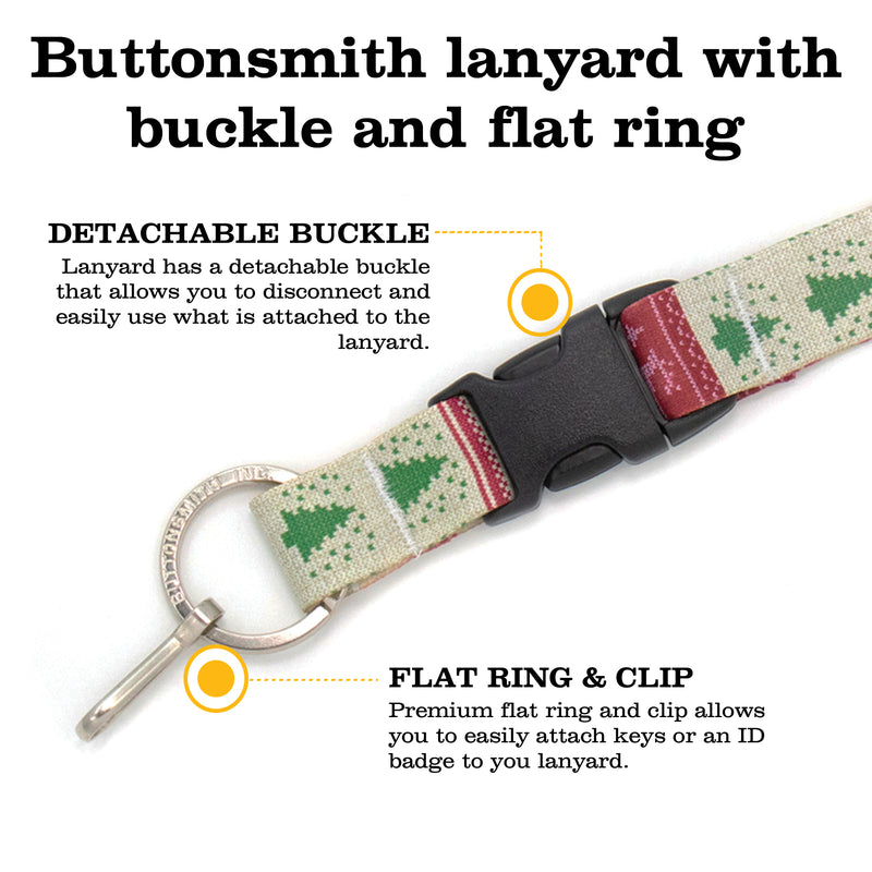Buttonsmith Christmas Sweater Premium Lanyard - with Buckle and Flat Ring - Made in the USA - Buttonsmith Inc.