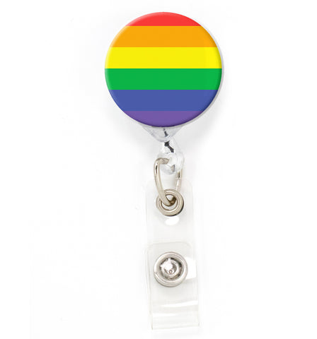 Buttonsmith Rainbow Flag Tinker Reel Retractable Badge Reel - Made in the USA