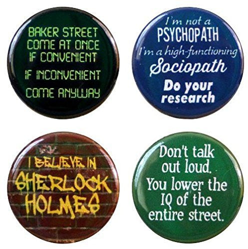 "Buttonsmith® 1.25"" Sherlock Refrigerator Magnets - Set of 4"