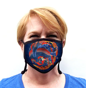 Buttonsmith Hokusai Phoenix Adult Adjustable Face Mask with Filter Pocket - Made in the USA