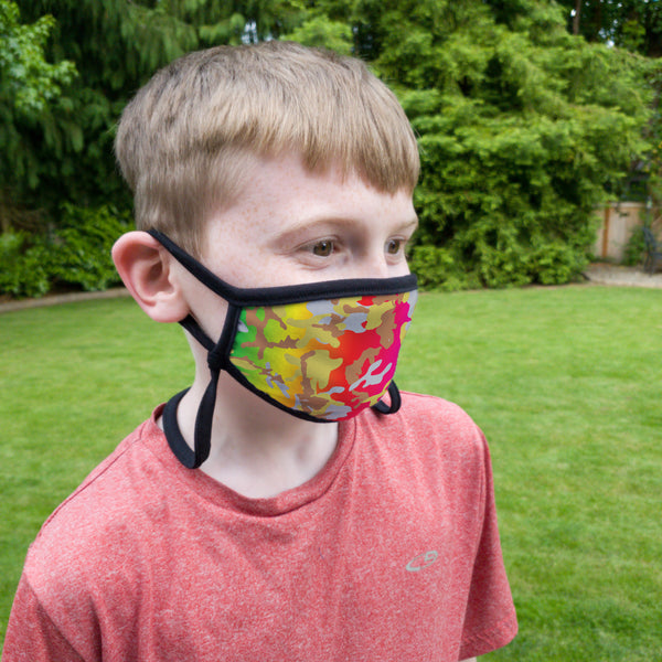 Buttonsmith Rainbow Camo Youth Adjustable Face Mask with Filter Pocket - Made in the USA