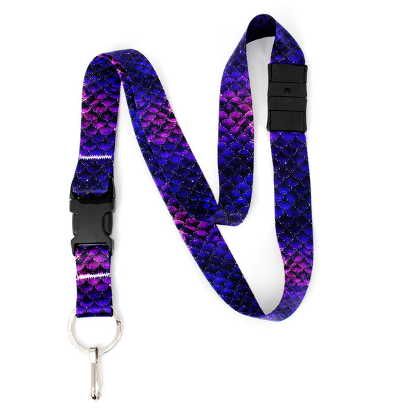 Buttonsmith Purple Mermaid Scales Breakaway Lanyard - with Buckle and Flat Ring - Made in the USA