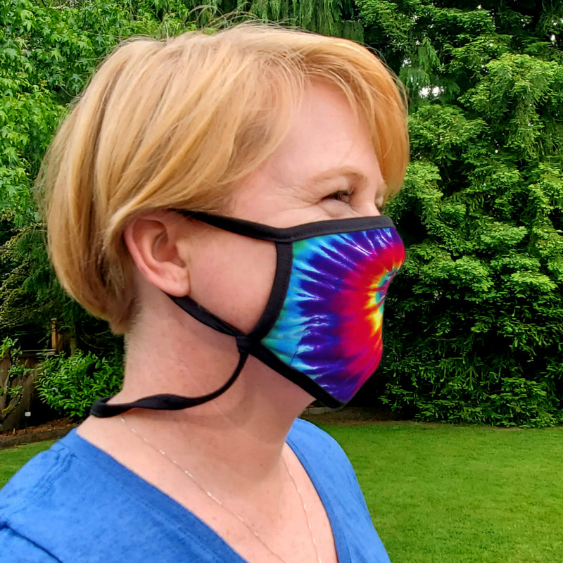 Buttonsmith Rainbow Tie Dye Adult XL Adjustable Face Mask with Filter Pocket - Made in the USA - Buttonsmith Inc.
